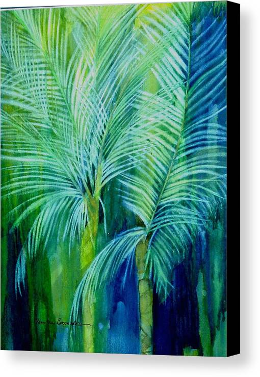 Landscape Canvas Print featuring the painting Palm Trees by Maritza Bermudez
