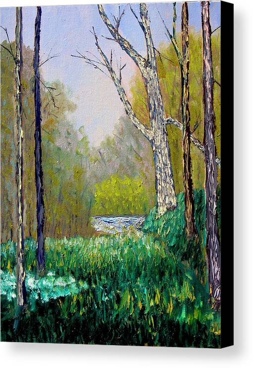 Trees Canvas Print featuring the painting Park Meadow by Stan Hamilton