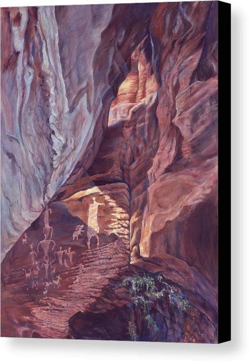 Landscape Canvas Print featuring the painting Petroglyph Circus by Page Holland
