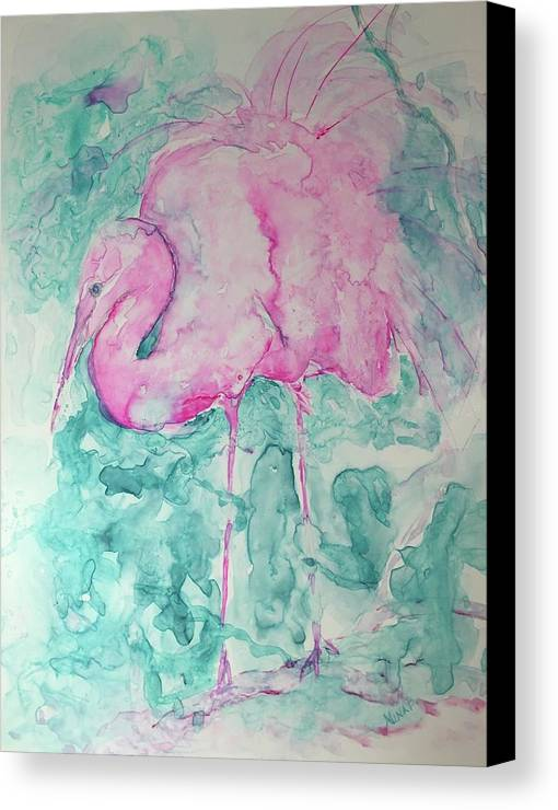 Nature Canvas Print featuring the painting Pink Flamingo by Nina Bryant