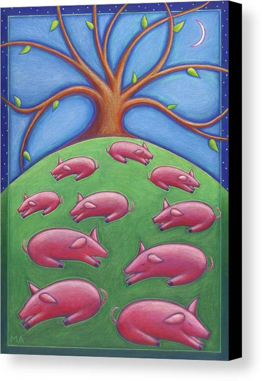 Whimsical Canvas Print featuring the painting Pink Pastures by Mary Anne Nagy