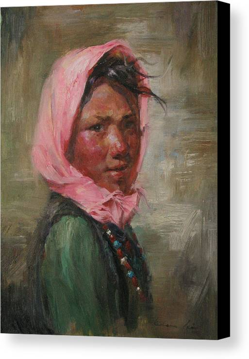 Tibet Canvas Print featuring the painting Pink Scarf by Kelvin Lei