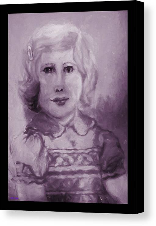 Pencil Canvas Print featuring the painting Portrait Of A Little Girl by Debra Lynch