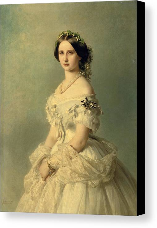 Portrait Canvas Print featuring the painting Portrait Of Princess Of Baden by Franz Xaver Winterhalter