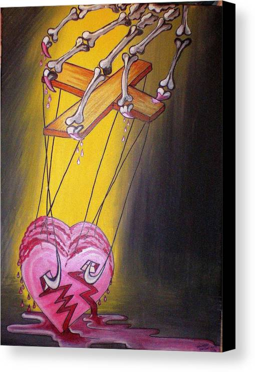 Heart Canvas Print featuring the painting Puppeted Heart by Tammera Malicki-Wong