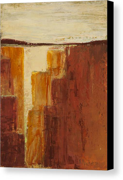Abstract Canvas Print featuring the painting Red Canyon by Kaata  Mrachek