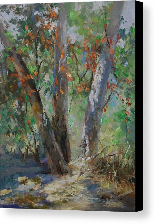 Landscape Canvas Print featuring the painting Red Leaves by Kelvin Lei