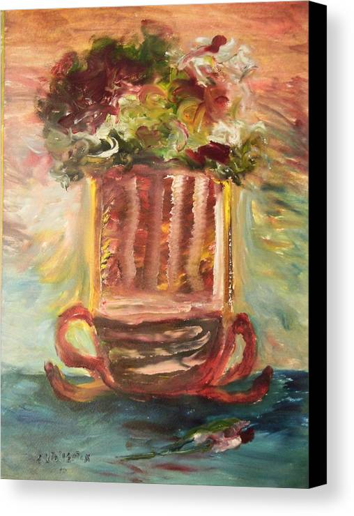 Ribbon Glass Glowing With Flowers Canvas Print featuring the painting Ribbons Of Flowers by Edward Wolverton