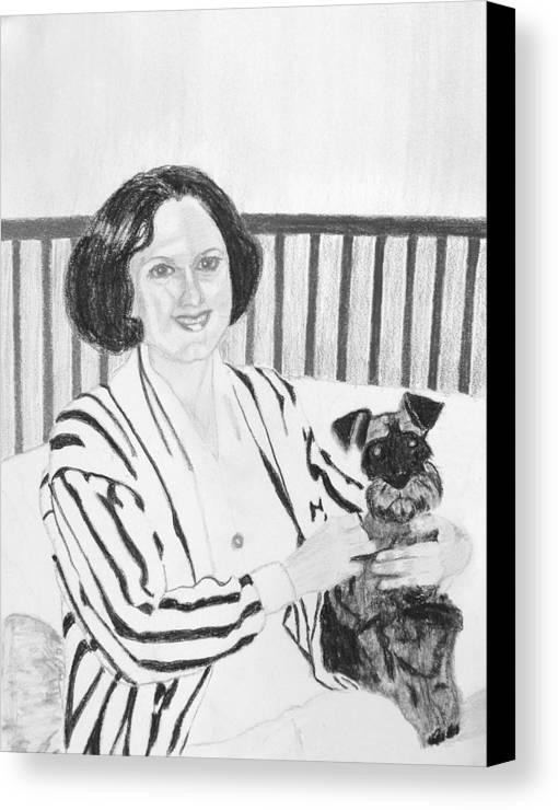 Rita Lady Dog Schnauzer Canvas Print featuring the drawing Rita by Cathy Jourdan