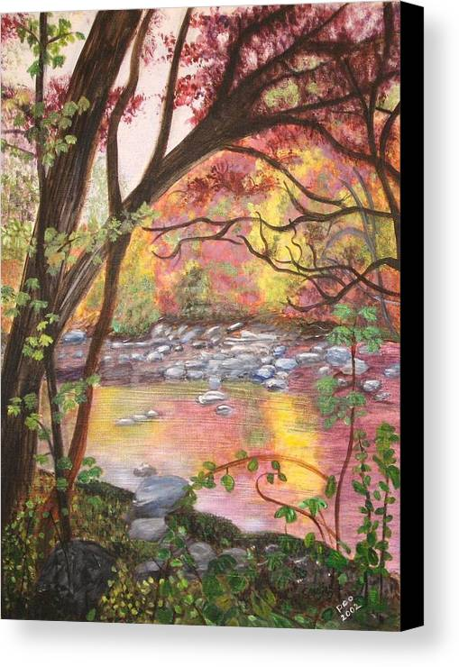 Landscape Canvas Print featuring the painting Rock Creek Autumn by Patricia Ortman
