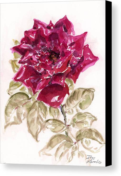 Rose Canvas Print featuring the painting Rose 1 by Iris Kovalio