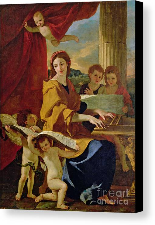 Cecilia Canvas Print featuring the painting Saint Cecilia by Nicolas Poussin