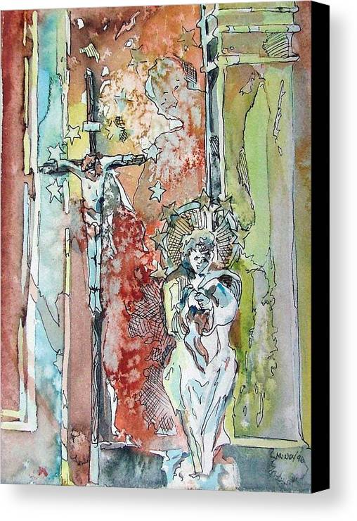 Jesus Canvas Print featuring the painting Saint Cecilia Ronda Spain by Mindy Newman