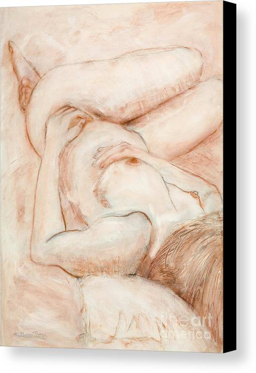 Female Canvas Print featuring the drawing Sanguine Nude by Kerryn Madsen-Pietsch