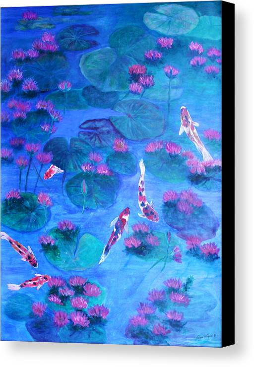 Lily Pads Canvas Print featuring the painting Serene Pond by Ben Kiger