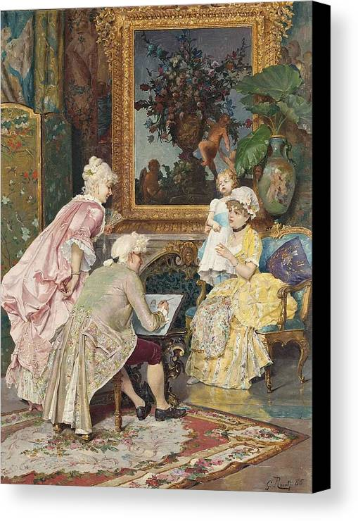 Giulio Rosati Canvas Print featuring the painting Sitting For A Portrait by MotionAge Designs