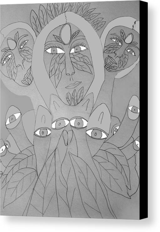 Canvas Print featuring the drawing Sketch Idea For Wild Look by Betty Roberts