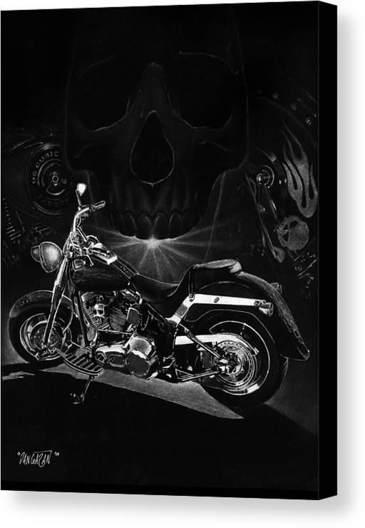 Pencil Illustration Canvas Print featuring the drawing Skull Harley by Tim Dangaran