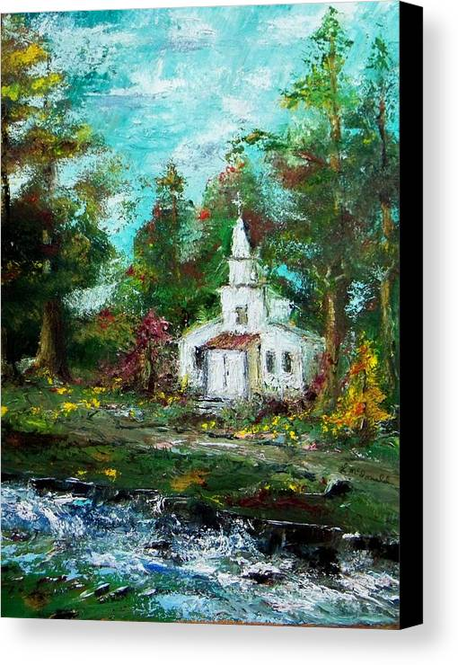 Church Moutain Stream Forest Country Landscape Canvas Print featuring the painting Smokey Mountains Church by Lynda McDonald