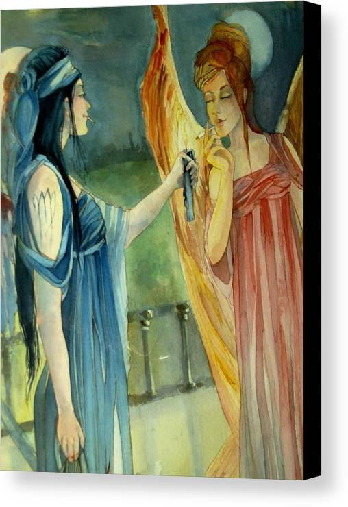 Angels Smoking Canvas Print featuring the drawing Smoking Angels by Jackie Rock