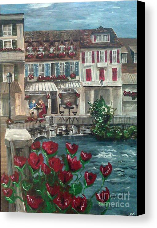 Austria Canvas Print featuring the painting Somewhere In Europe by Emily Martinez