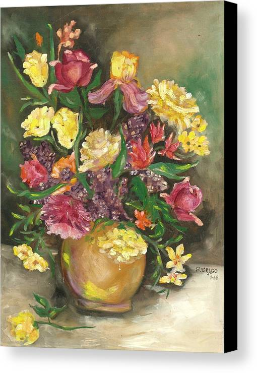 Flowers Canvas Print featuring the painting Spring Bouquet by Sally Seago
