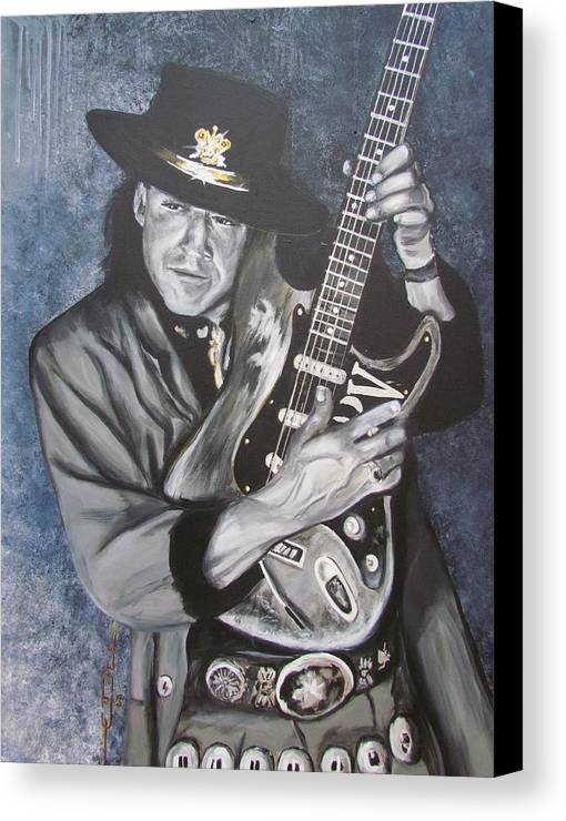Stevie Ray Vaughan Canvas Print featuring the painting Srv - Stevie Ray Vaughan by Eric Dee