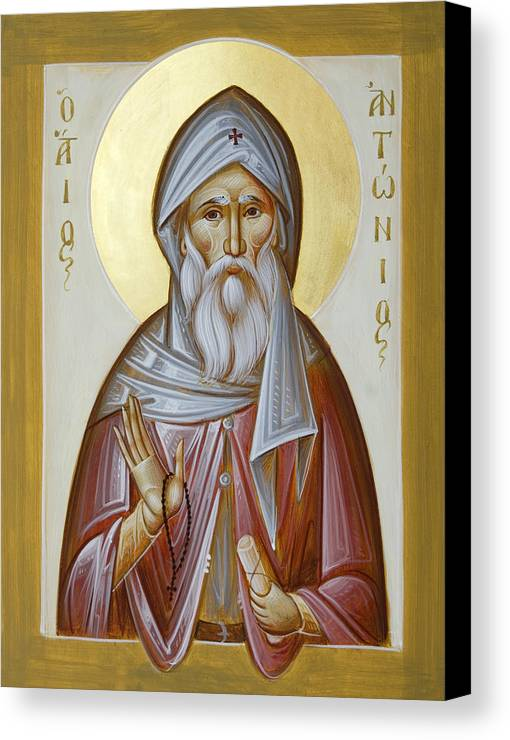 St Anthony The Great Canvas Print featuring the painting St Anthony The Great by Julia Bridget Hayes