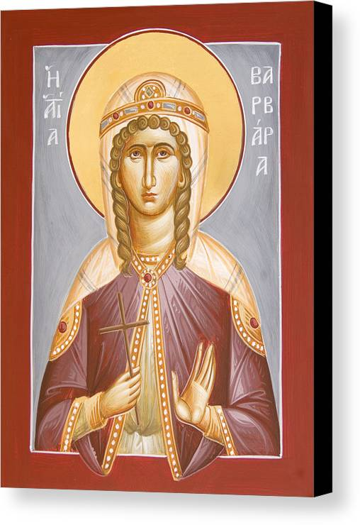 St Barbara Canvas Print featuring the painting St Barbara by Julia Bridget Hayes