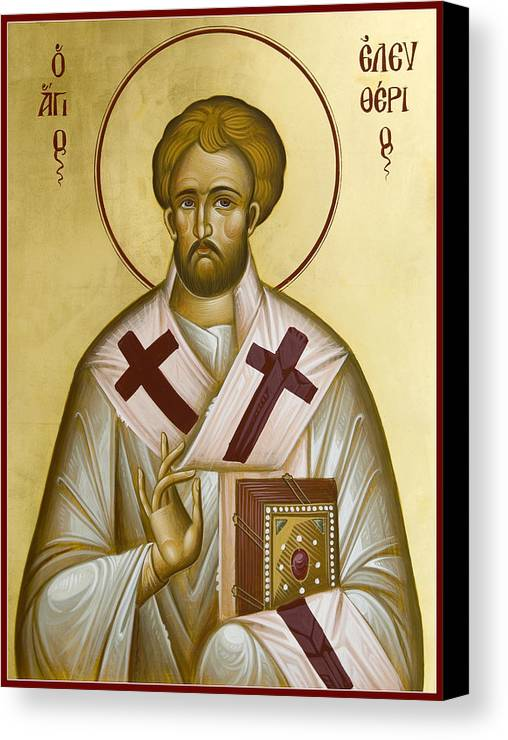 Icon Canvas Print featuring the painting St Eleftherios by Julia Bridget Hayes