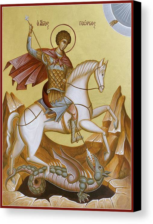 Icon Canvas Print featuring the painting St George by Julia Bridget Hayes
