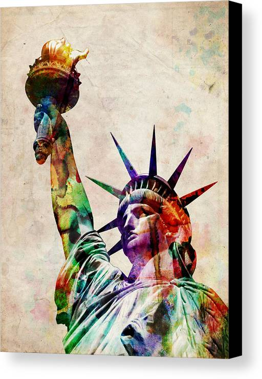 Statue Of Liberty Canvas Print featuring the digital art Statue Of Liberty by Michael Tompsett