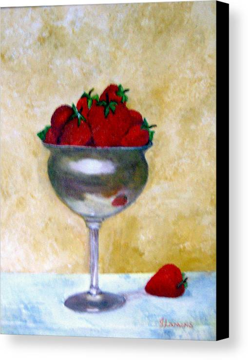 Still Life Canvas Print featuring the painting Strawberry Feast by Julie Lamons