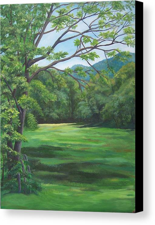 Landscape Canvas Print featuring the painting Summer Meadow by Audrie Sumner