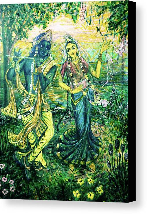 Season Canvas Print featuring the painting Summer's Joyous Meeting by Michael African Visions