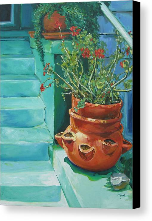 Flowers Canvas Print featuring the painting Summertime Geraniums In Santa Monica by Karen Doyle