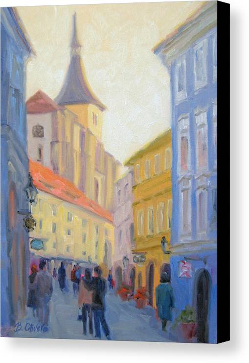 Prague Canvas Print featuring the painting Sunday Stroll - Prague by Bunny Oliver