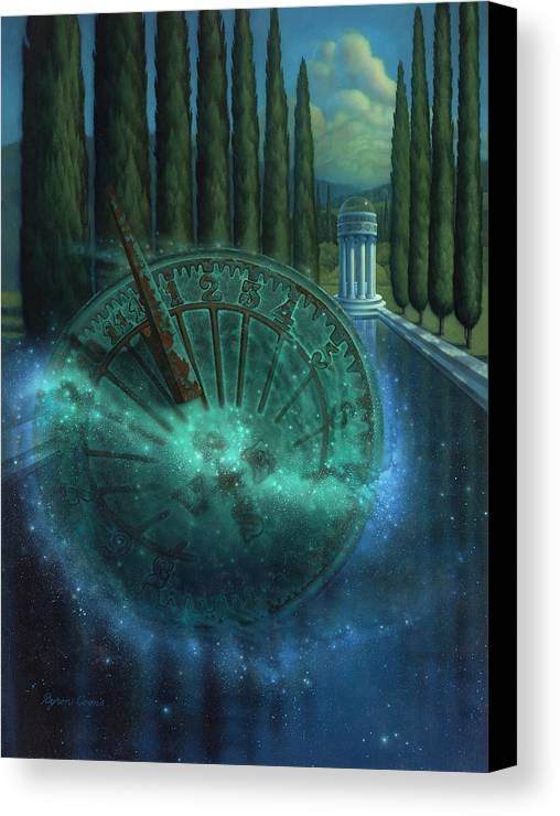 Sundial Canvas Print featuring the painting Sundial Of Antiquity by Brigit Byron Coons