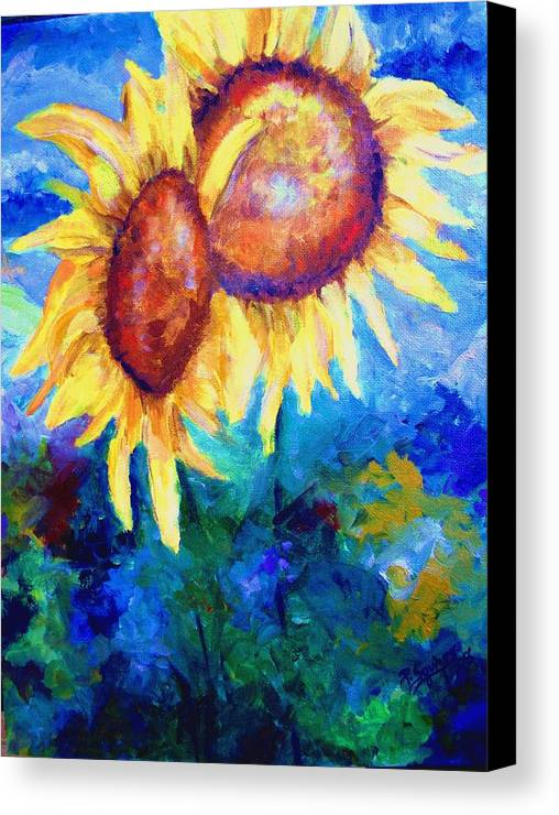 Flowers Canvas Print featuring the painting Sunflowers by Pamela Squires