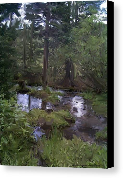 Landscape Canvas Print featuring the digital art Sunny Woods by Jennifer Skalecke