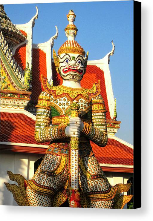 Thailand Canvas Print featuring the photograph Temple Guardian by Dominic Piperata