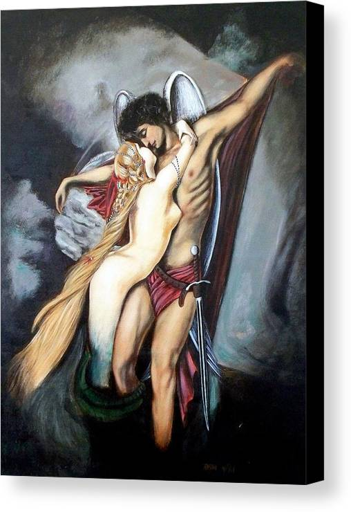 Michael And The Mermaid Canvas Print featuring the painting The Arcangel Micheal And The Mermaid by RB McGrath