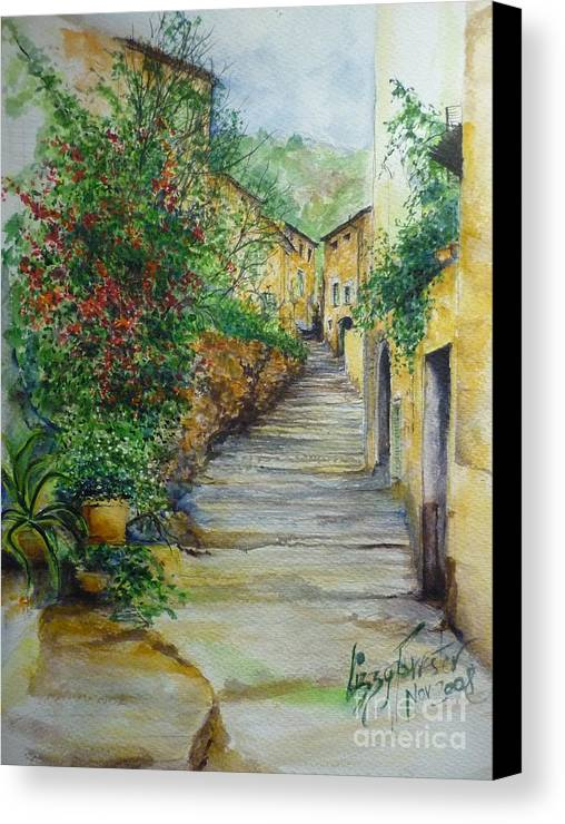 Original Paintings Of Mallorca Canvas Print featuring the painting The Balearics Typical Spain by Lizzy Forrester