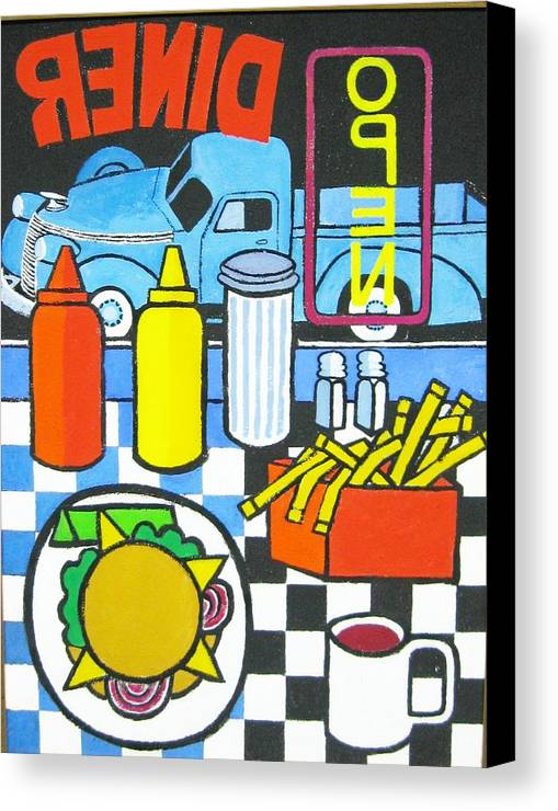 Diner Canvas Print featuring the painting The Diner by Nicholas Martori