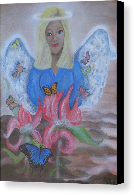 Angel Canvas Print featuring the painting The Gift by Mikki Alhart