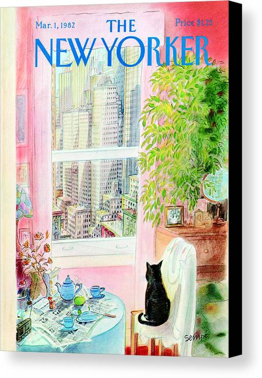 Apartment Canvas Print featuring the photograph The New Yorker Cover - March 1st, 1982 by Jean-Jacques Sempe