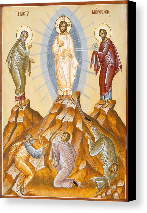 Transfiguration Canvas Print featuring the painting The Transfiguration Of Christ by Julia Bridget Hayes