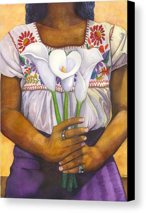 Lily Canvas Print featuring the painting Three Calla Lilies by Catherine G McElroy