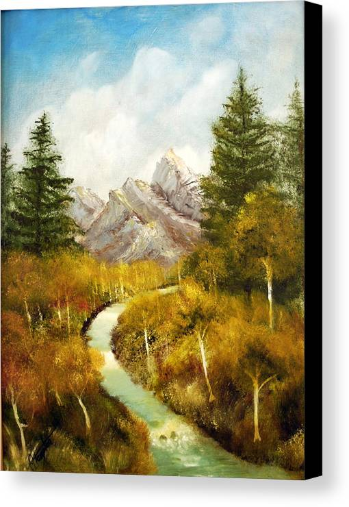 Painting Canvas Print featuring the painting Thru The Aspens And Up The Mountain by Jack Hampton