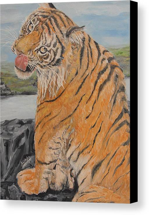 Big Cat Canvas Print featuring the painting Tiger Cub by Rajesh Chopra